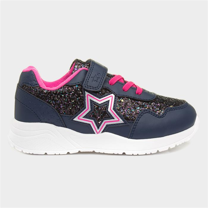 Buckle My Shoe Papalo Girls Navy Trainer